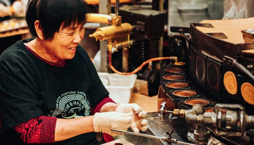 woman working on machine