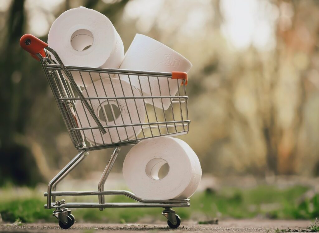 white tissue roll on stainless steel shopping cart